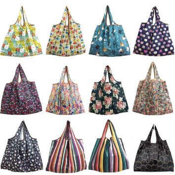 New Lady Foldable Recycle Shopping Bag Eco Reusable Shopping Tote Bag Cartoon Floral Fruit Vegetable Grocery FS11