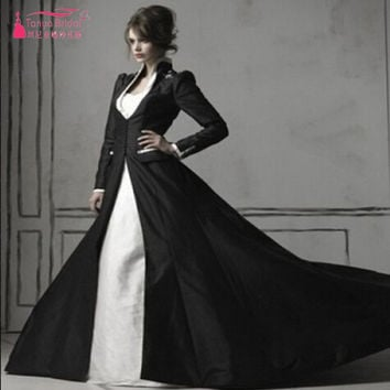 Real Gothic Beaded White/ Ivory And Black Long Sleeve Black Taffeta Coat Elegant Wedding Gown