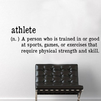Athlete Definition Wall Decal - sports wall decal, motivational quotes, weight room decal, kids room decor, sports decal, work out decal