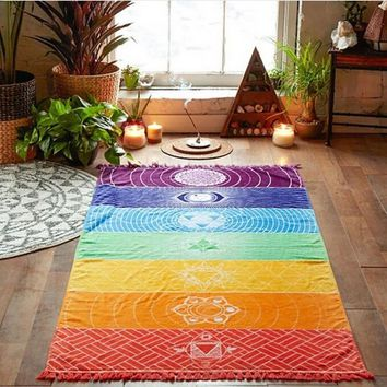 Rainbow Stripes Bohemia Wall Hanging India Mandala Blanket 7 Chakra Colored Tapestry 70cm*150cm
