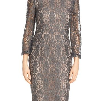 Women's Trina Turk Long Sleeve Lace Midi Dress,