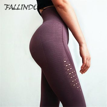 Women High Waist Yoga Pants Super Stretchy Gym Tights Energy Seamless Tummy Control Sport Fitness Leggings Purple Running Pants