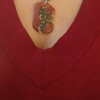 Ethnic pendant. Handmade ceramic necklace. Dark red and light brown, black, speckled glossy red. FREE SHIPPING!