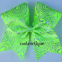 Neon green hologram cheer bow