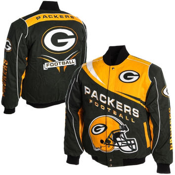 Green Bay Packers Kick Off Twill Jacket - Green/Gold