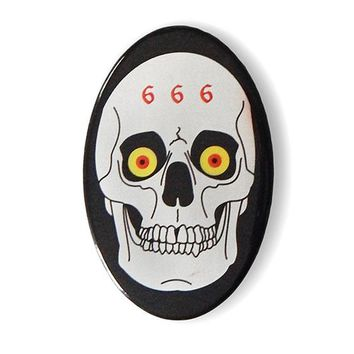 666 Metal Skull Big Pinback Button