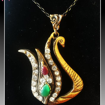 Authentic Turkish Tulip And Swan Design Bronze Necklace With Ruby & Emerald