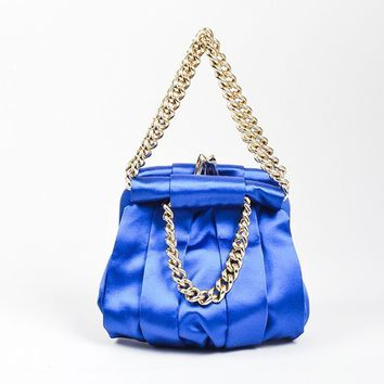 DCCKU2C Christian Louboutin Blue and Gold Toned Satin Chain   Loubinette   Pouch Bag