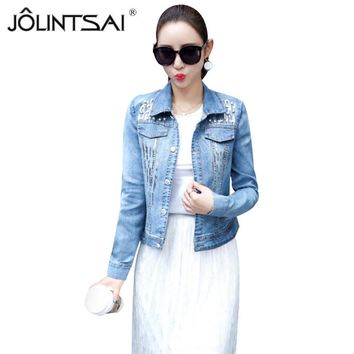High Quality 2017 Sequined Embroidery Denim Jacket Women Turn Down Collar Slim Short Jeans Overcoat Ladies Casual Jackets Tops