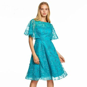 Cap sleeves a line dresses blue lace embroidery knee length gown women cocktail party formal dress