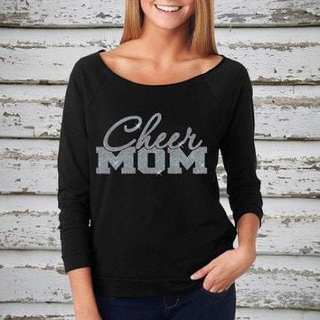 Cheer Mom Off Shoulder 3/4 Sleeve Raw Edge Terry Shirt, yoga clothes, workout top, boho style, bohemian clothing, slouchy top
