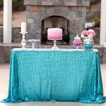 Turquoise Sequin Tablecloth  We can do custom sizes