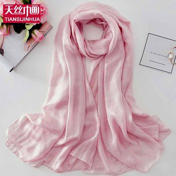 TSJH 2018 New Spring Women Scarves Long Solid Women Wraps Female Bandana Long Satin Scarves Shawls Beach Cover up Hijabs Scarf