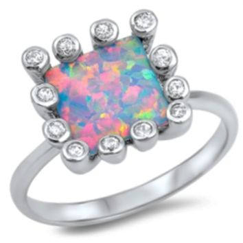 .925 Sterling Silver Pink Fire Opal Ladies Ring Size 5-10 Princess Cut Halo Solitaire