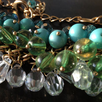 Vintage Chunky Collar Blue Green Statement Necklace, Inspired Zara Cord and Chain Bib Collier
