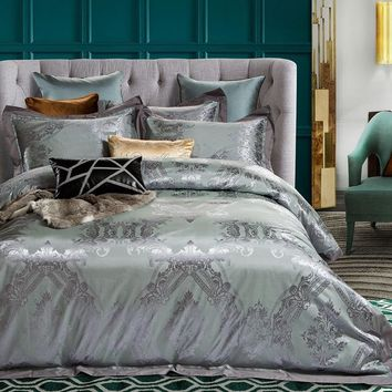 Cool 2018 Grey Green European Bedding Set 4Pcs Queen King Size Silk Cotton Blend Bedlinens Duvet Cover Set Flat Sheet Pillow CasesAT_93_12