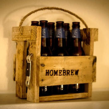 Rustic 6-pack holder groomsmen gift custom wedding gift custom male gift anniversary gift wooden six pack Home brew \