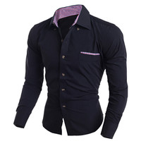 Solid Color Plaid Purfled Chest Pocket Shirt