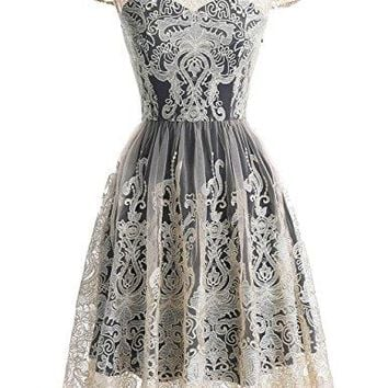 Vintage Floral Embroidered Lace Cocktail Maxi Dress With Cap-Sleeves