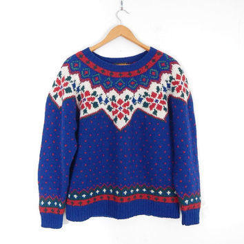 1990 Fair Isle Knit Wool Sweater - Medium - Women's Vintage 80s 90s Oversized Nordic Eddie Bauer Blue White Red Preppy Pullover Jumper