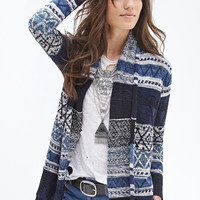 FOREVER 21 Abstract Pattern Cardigan Navy/Multi