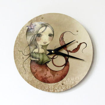 SALE Unique Wall Clock, Mermaid Clock,  Housewares, Small Clock, Ready to Ship, One Of A Kind,  Home and Living, Unique Clock,Time