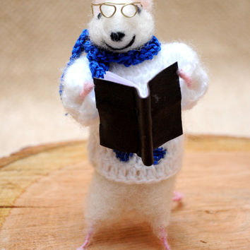 Book lover mouse! Felted mouse with leather book and glasses! Unique gift!
