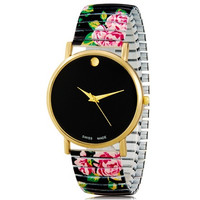 Women's Fashionable Simple Style Platinum Analog Wrist Watch with Flower Pattern Metal Band (Black)