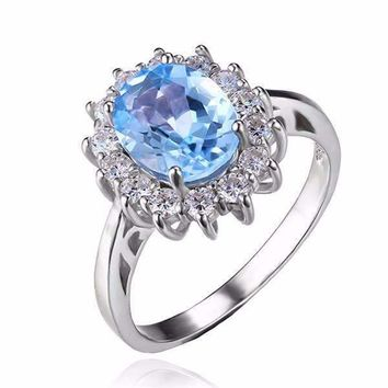 French Blue Halo 2.5CT Genuine Topaz IOBI Precious Gems Ring