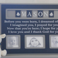 Navy and Gray Baby Boy Nursery Decor, Personalized Baby Picture Frame, Custom Children Photo Frame  - Navy Blue Shower Gift