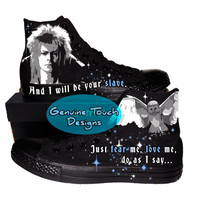 Hand Painted Converse Black/black. Fanart Labyrinth. Jareth. Custom handpainted shoes