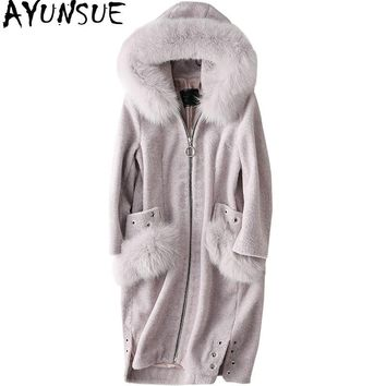 AYUNSUE Winter Real Fur Coat Women Long Sheep Shearling Overcoat With Genuine Fox Fur Collar Hooded Natural Wool Jackets WYQ1552