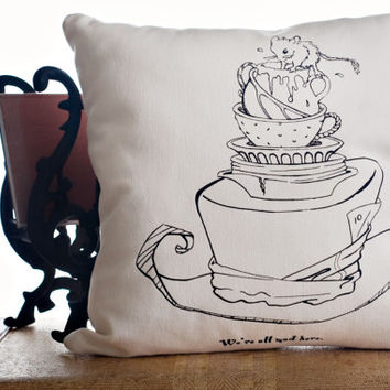 "Alice in Wonderland Pillow Cover 16"" x16"""