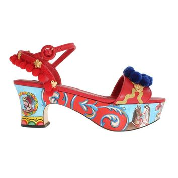 Dolce & Gabbana Multicolor Handpainted Carretto Platform Heel