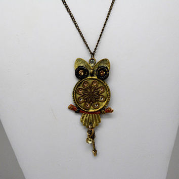 Owl Pendant, Steam-Punk Owl Pendant, Distressed Owl Pendant