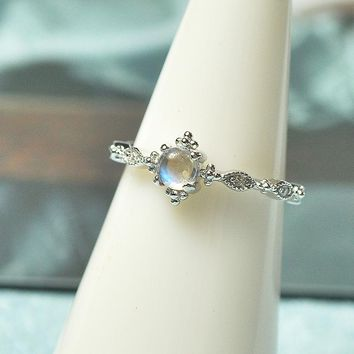 INATURE 925 Sterling Silver Natural Blue Moonstone Rings for Women Adjustable Engagement Ring