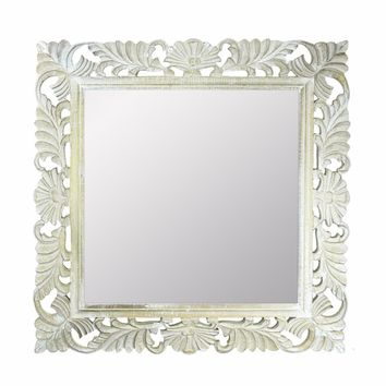 Beautifully Carved Mirror With Wooden Frame, White By Benzara