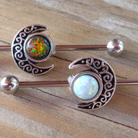 Industrial Barbell Fire Opal Tribal Moon 2 styles,movable
