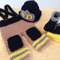 Newborn Infant Baby Photography Prop Handmade Knit Crochet Firefighter baby boy clothes fireman Caps Overall Boots set (Color: Yellow)