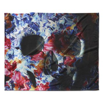 "Danny Ivan ""Skull Light"" Blue Pink Fleece Throw Blanket"