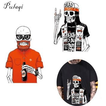 Pulaqi Funny Zombie Patches Heat Transfer on Clothes Stickers For T-shirt Dresses DIY Punk Skull Washable Clothing Accessory B