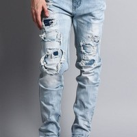 Distressed Double Layered Skinny Jeans DL1119 - EE9G