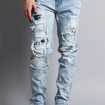 Distressed Double Layered Skinny Jeans DL1119 - EE11G