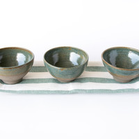 Set of 3 Ceramic Mini Serving Dishes in blue / Pottery Mini Bowls / Housewarming Gifts