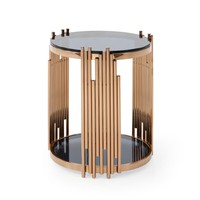 Modrest Bryce Modern Smoked Glass & Rosegold Round End Table