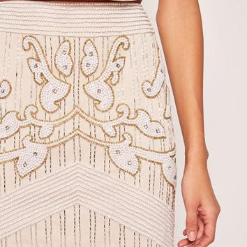 Missguided - All Over Embellished Pearl A Line Skirt Nude