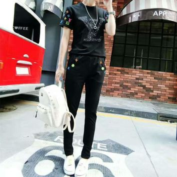 """Louis Vuitton"" Women Casual Fashion Sequin Letter Embroidery Short Sleeve Trousers Set Two-Piece Sportswear"