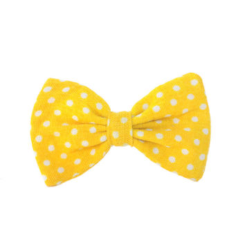 Mini Bow | Vintage Dotted Yellow | Barrette or Brooch