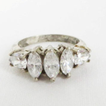Vintage Sterling Silver CZs Anniversary Ring, Marquise and Pear Cut Eternity Ring, Engagement Ring Size 5