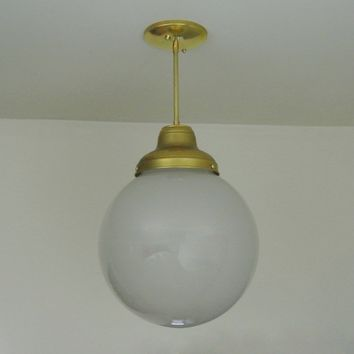 Large Frosted Glass Globe Pendant Light
